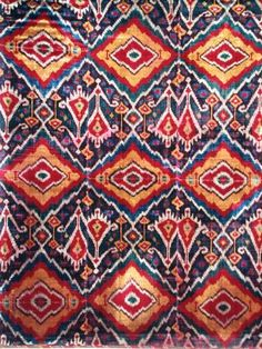 Antique silk velvet Ikat panel, uzbek ethnic textiles, 19th century, Uzbekistan, Central Asia