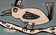 #Spring #Bird #Whimsical #Folkart painting #outsiderart #ink illustration #naiveart Original #IllustrationArt #artforsale