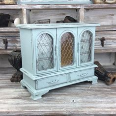 VINTAGE JEWELRY ARMOIRE Blue Jewelry Box Gift For Her Blue Jewelry Storage Wood Jewelry Cabinet Cottage Chic Jewelry Holder Rustic Jewelry