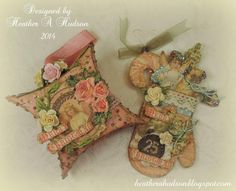 Vintage Christmas Pink Mitten and Pillow Box Ornament