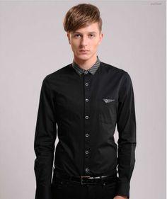 เสื้อเชิ้ตผู้ชาย เสื้อผ้าทอม เสื้อแขนยาวผ้าคอตตอนสีดำแต่งผ้าลายจุดขาวดำ http://www.sunday17.com/product/1346/