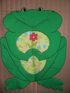 Frog Blanket / Coverlette / Quilt by TheEclecticCrafters on Etsy, $50.00