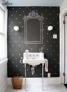 Chalkboard Wall for the Bathroom - Lol, then I could draw a pretty hairdo for bad hair days