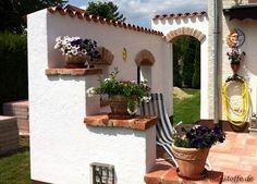 Teja Curva - Farbe Viellja castilla - Windschutzmauer an der Terrasse mediterran gestaltet