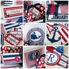 red white blue preppy nautical sailing americana classroom theme decor by Schoolgirl Style ~Classroom decor by Schoolgirl Style www.schoolgirlstyle.com