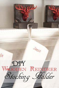 DIY Wooden Reindeer Stocking Holders @biglots [ad]