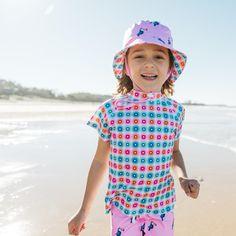 Girls Rainbow Geo Short Sleeve Rashie | Sandy Feet Australia