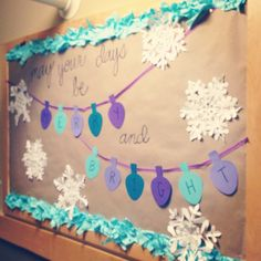 """holiday bulletin board: """"may your days be merry and bright"""" I think this is just the cutest ever."""