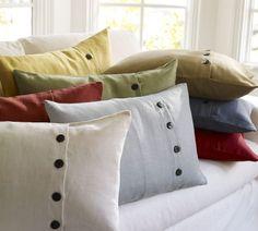 Textured Linen Lumbar Pillow Cover