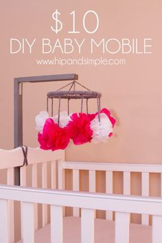 $10 DIY Baby Mobile - I was looking for an inexpensive baby mobile for my baby's crib. I didn't want to ruin the side of the crib or attach anything to the wall...