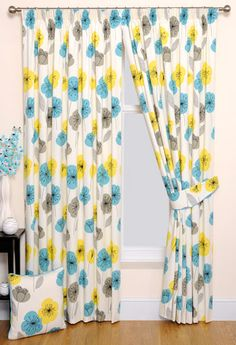 This Printed Curtain Includes A Fun And Quirky Repeated Floral Pattern In  Bright Yellow, Charcoal