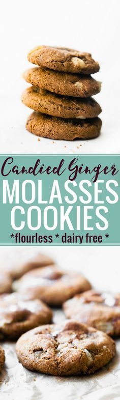 Flourless chewy ginger molasses cookies are delicious gluten free Christmas cookies, made with real food ingredients! Recipes Using Fruit, Healthy Cookie Recipes, Healthy Cookies, Baking Recipes, Real Food Recipes, Dessert Recipes, Healthy Treats, Vegan Recipes, Gluten Free Christmas Cookies