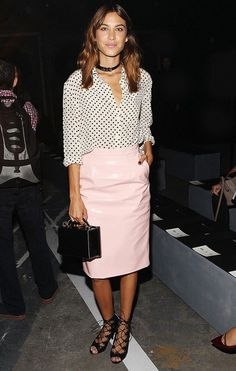 Alexa Chung wears pink patent leather skirt to Marc by Marc Jacobs S/S 15 show. // #NYFW