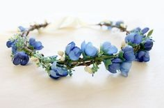 Blue Floral Crown. something blue flower crown by rosesandlemons, $35.00 #weddingcrowns