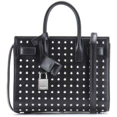 Saint Laurent Sac De Jour Nano Studded Leather Tote (2 790 AUD) ❤ liked on Polyvore featuring bags, handbags, tote bags, purses, totes, black, handbags purses, leather tote, hand bags and genuine leather tote