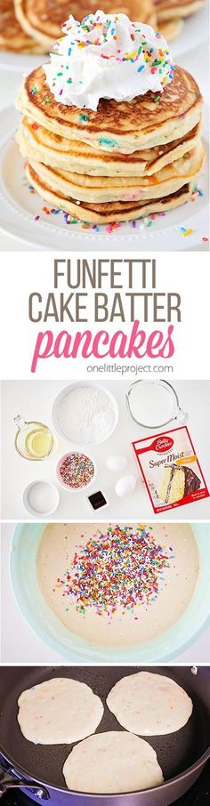 Breakfast, Start your day off right here! : These funfetti cake batter pancakes are so fluffy and sweet, and loaded with sprinkles! They're the perfect breakfast for any special occasion! Funfetti Kuchen, Funfetti Cake, Breakfast Pancakes, Breakfast Recipes, Breakfast Healthy, Pancake Recipes, Yummy Breakfast Ideas, Pancake Toppings, Cake Batter Pancakes