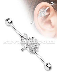 Industrial Barbell Tree Of Life Industrial Piercing Jewelry, Industrial Barbell, Peircings, Ear Piercings, Tree Of Life, Earrings, Ears Piercing, Piercings, Body Piercings