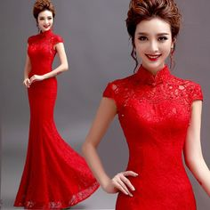 Red Lace Evening Prom Dress Mermaid Wedding Bridal Gown Chinese Cheongsam M61D