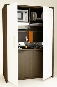 Small Kitchen Designs Mini kitchen by Mobilspazio Contract Micro Kitchen, Hidden Kitchen, Compact Kitchen, Small Space Living, Small Spaces, Compact Living, Tiny House Living, Kitchen Furniture, Pipe Furniture