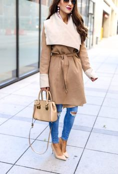 Beautiful Classy Camel Wrap Coat.Winter Coat. Wrap Coat for Winter. Camel Coat. Neutral colors for winter. Denim Style. #winterfashion #wintercoat #coats