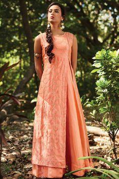 Peach Raw Silk Sequins Embroidered Designer Salwar-SL8443 - Buy Online  #designer #gown #salwar #samyakk #aline #rawsilk #puresilk #sequins #embroidered #peach
