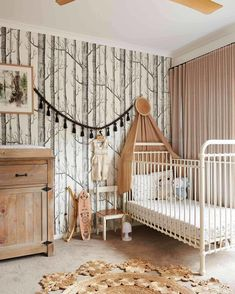59 trendy Ideas for birch tree wallpaper nursery design Woodsy Nursery, Boho Nursery, Nursery Neutral, Nursery Room, Girl Nursery, Neutral Nurseries, Nursery Office, Nursery Themes, Nursery Decor
