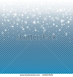 Falling snow on transparent background. Winter Holiday landscape for Merry Christmas and Happy New Year greeting cards. Christmas decoration with white snowflakes and snowfall. Vector illustration.