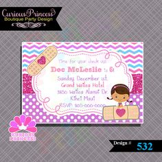 532 Doc nurse invitations PRINTABLE by CuriousPrincessParty, $10.00 mcstuffins mcstuffin invites ideas invitation printable file supplies birthday party idea www.CuriousPrincess.com