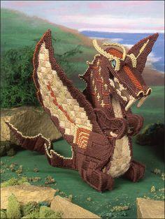 plastic canvas dragon sculpture