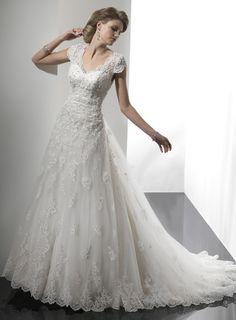 A-line short sleeve tulle floor-length bridal gown