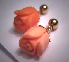 Antique Gold Coral Earrings Vintage Victorian Floral.
