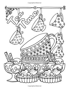 Coffee, Tea & Sweets: Adult Coloring Book: Including 30 Recipes To Go With the Pictures to Color by Marg Ruttan 2016-02-29: Amazon.de: Marg Ruttan: Bücher