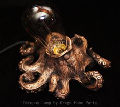 Hi ! Here we are ! 2016 start really good with my beautifull new creation: The Octopus Lamp! 100% made in Paris, France ! A crazy steampunk accessory