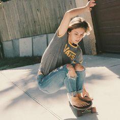 "Toes on the nose @elise_crigar doolansdigest #vansgirls #dusterscalifornia"" #skatergirl #curlgirlscan #curlmag #Regram via @curlmag"