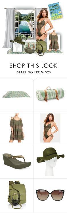 """""""pool party at Becca's! No parents all weekend!!!"""" by caroline-buster-brown ❤ liked on Polyvore featuring Maslin & Co., Muche Et Muchette, Missguided, G by Guess, Merona, Picnic Time, Linda Farrow and poolparty"""