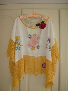 Victorian Recycled Linen Tablecoth Tunic Top by PrettyUnusuall