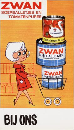 Vintage Dutch illustration store window poster advertisement for Zwan canned soup balls and tomato puree. Vintage Advertising Posters, Advertising Signs, Vintage Advertisements, Vintage Ads, Vintage Posters, Vintage Designs, Vintage Food, Retro Ads, Window Poster