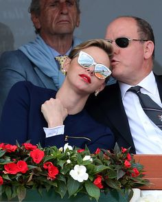 Prince Albert II of Monaco and Princess Charlene Attend the Monte-Carlo ATP Masters Series Tournament final tennis match between Spain and France, on April 17, 2016 in Monaco.