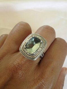 Sterling Silver and 14K Gold Ring in Green Amethyst! on www.ebay.com