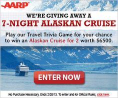 AARP Sweepstakes: Play the Travel Trivia Game & Be Entered to Win an Alaskan Cruise | Ends 2.28