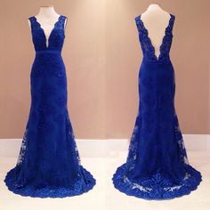 Hot Selling Mermaid Royal Blue Evening Dresses Lace V Neck Long Elegant Prom Dress Robe De Soiree Formal Gowns