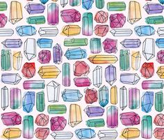 This design prints so well on fabric! I can't wait to sew something from it.  Watercolor Gemstones  fabric by logan_spector on Spoonflower - custom fabric