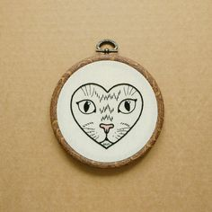Cat in a Heart Hand Embroidery Hoop Art (modern embroidery wall hanging - tattoo patch) by ALIFERA on Etsy