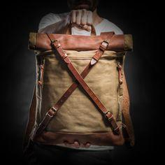 Lona encerada y mochila mochila superior por KrukGarageAtelier