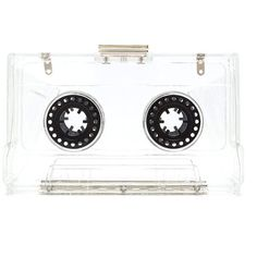 Mixtape Master Clear Clutch (23 CAD) ❤ liked on Polyvore featuring bags, handbags, clutches, multi, metallic clutches, white purse, white clutches, metallic handbags and clear clutches
