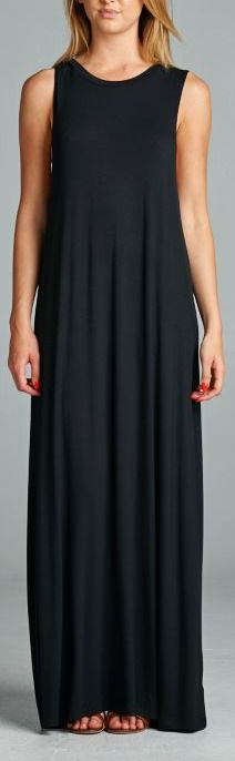 Super soft loose fit maxi. Crew neck. Sleeveless. Center back seam. 68% Rayon, 28% Polyester, 4% Spandex. Made in USA.