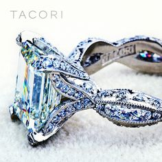 A custom engagement ring, inspired by Tacori's RoyalT HT 2602 PR with carat emerald- cut center diamond (SO Via Tacori. This is my dream ring for my next life when dreams and real money come true. Clutch, Dream Ring, Schmuck Design, Diamond Are A Girls Best Friend, Beautiful Rings, Simply Beautiful, Just In Case, Fine Jewelry, Jewelry Box