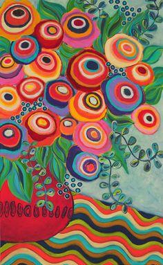 Liesel Malan - acrylic on canvas Folk Art Flowers, Abstract Flowers, Flower Art, Whimsical Art, Art Plastique, Oeuvre D'art, Painting Inspiration, Painting & Drawing, Watercolor Art