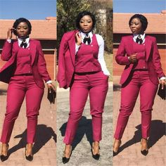 Red Women Suit Ladies Double Breasted Plus Size Office Tuxedos Formal Work Wear Dark Gray Wedding Su Corporate Wear, African Wear, African Fashion, Trouser Suits, Work Attire, Outfit Work, Work Outfits, Office Outfits Women, Outfit Ideas