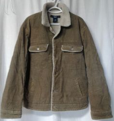 VTG GAP Mens LARGE Beige CORDUROY SHERPA Lined Trucker Jacket Heavy winter coat  #Gap #BasicJacket